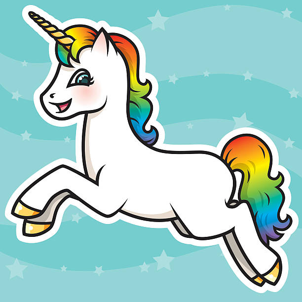 adorable kawaii rainbow unicorn character - unicorn stock illustrations