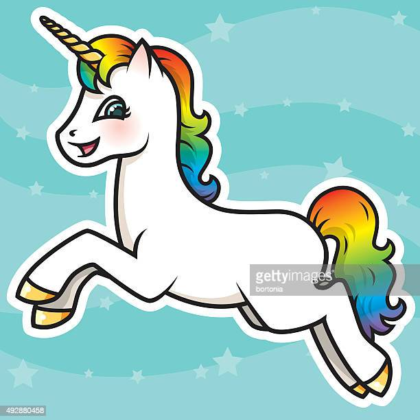 adorable kawaii rainbow unicorn character - unicorn stock illustrations