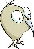 Adorable kiwi bird standing. Cartoon.