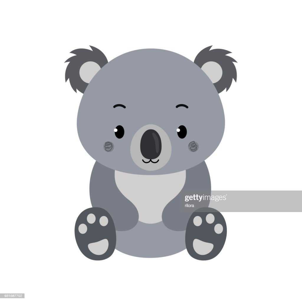 Adorable koala in flat style isolated on white background.