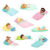 Adorable little boys and girls sleeping sweetly in their beds, colorful characters vector Illustrations