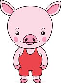 Adorable little pink pig in dungarees