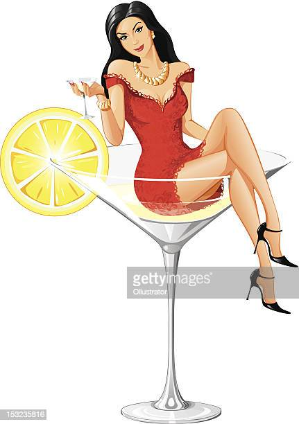 adorable martini woman - new version - gin stock illustrations, clip art, cartoons, & icons