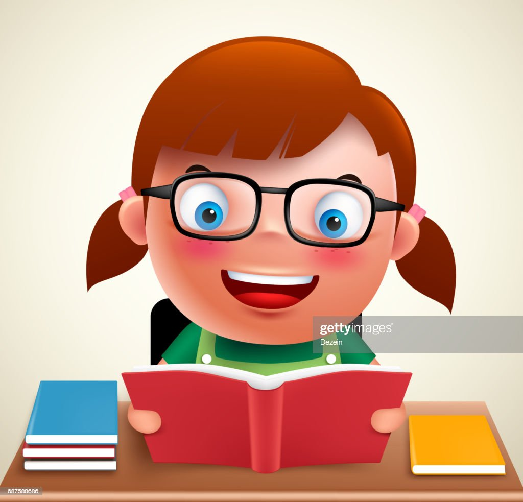 Adorable preschool girl kid vector character holding and reading book