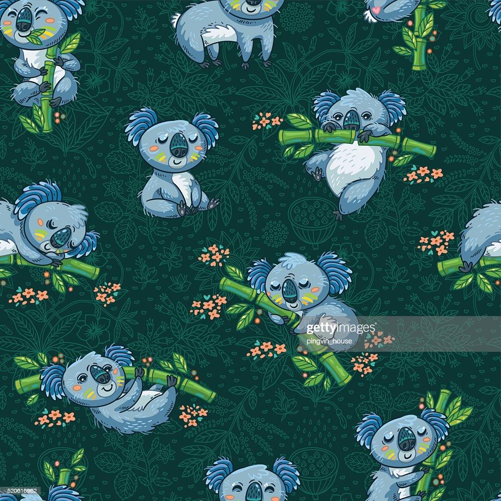 Adorable seamless pattern with cute koalas in cartoon