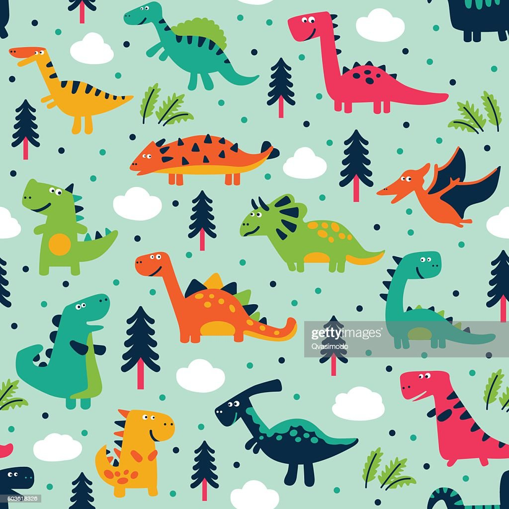 Adorable seamless pattern with trees, clouds and funny dinosaurs