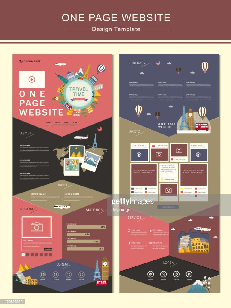 adorable travel concept one page website design