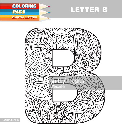 Adult Coloring Book Capital Letters Hand Drawn Template Vector Art