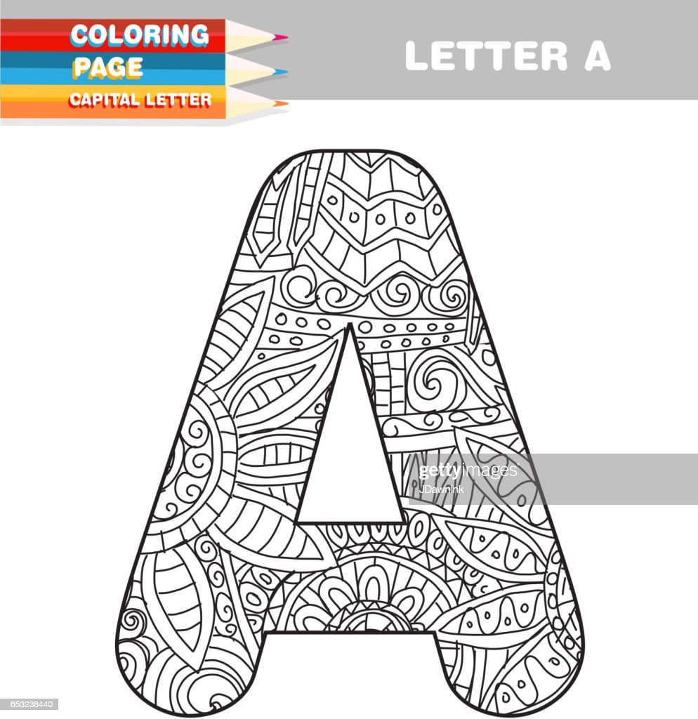 Adult Coloring Book Capital Letters Hand Drawn Template Vector Art ...