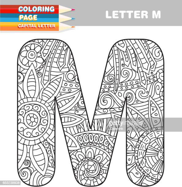 adult coloring book capital letters hand drawn template - letter m stock illustrations, clip art, cartoons, & icons