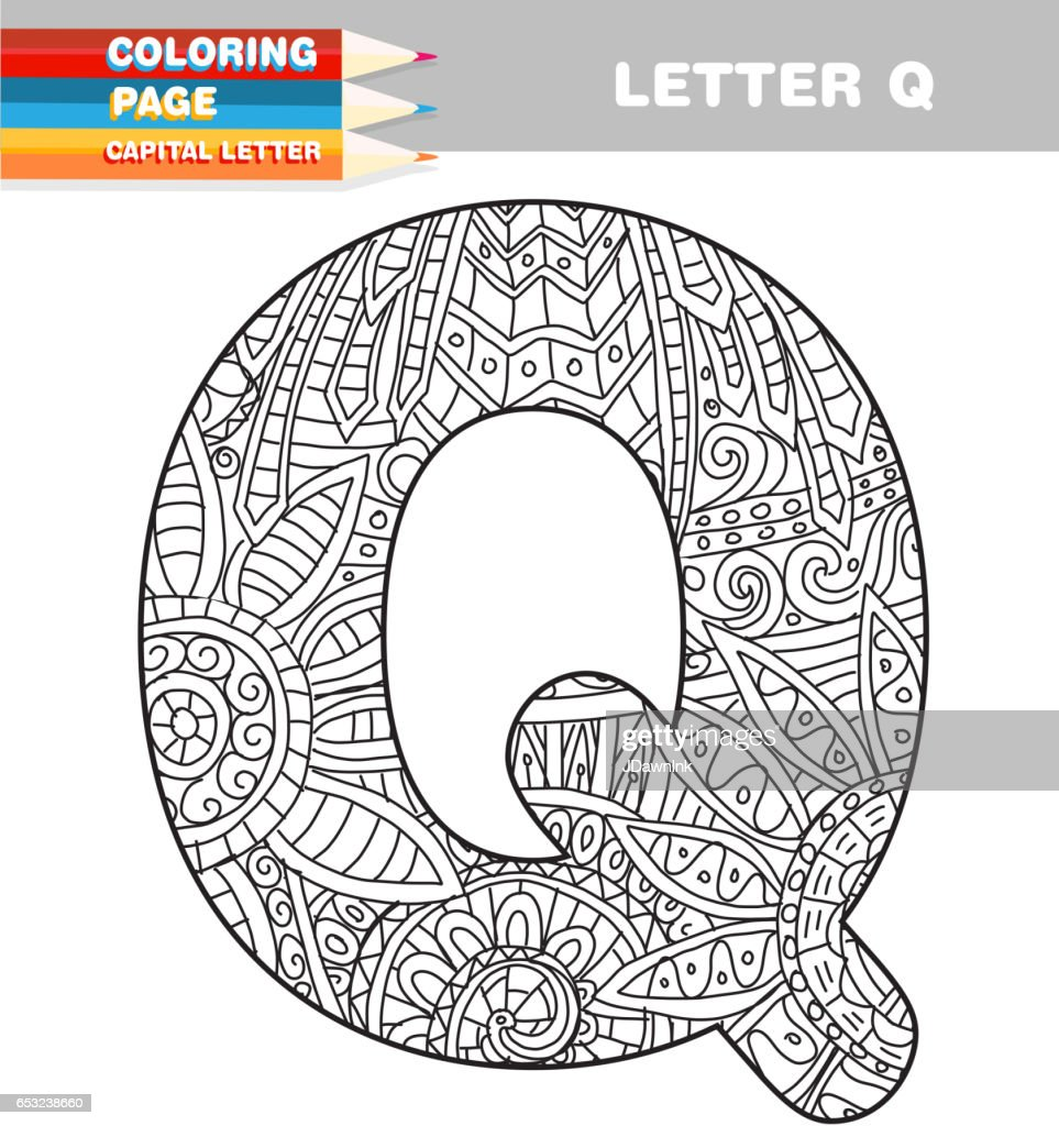 Adult Coloring book capital letters hand drawn template : Vector Art