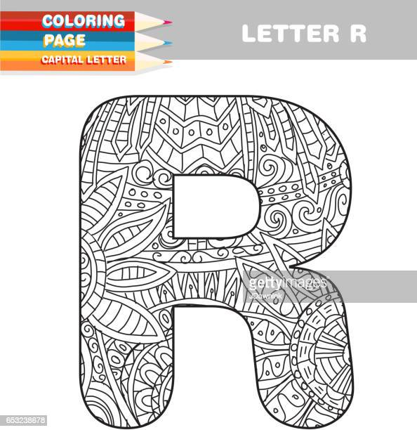 adult coloring book capital letters hand drawn template - letter r stock illustrations