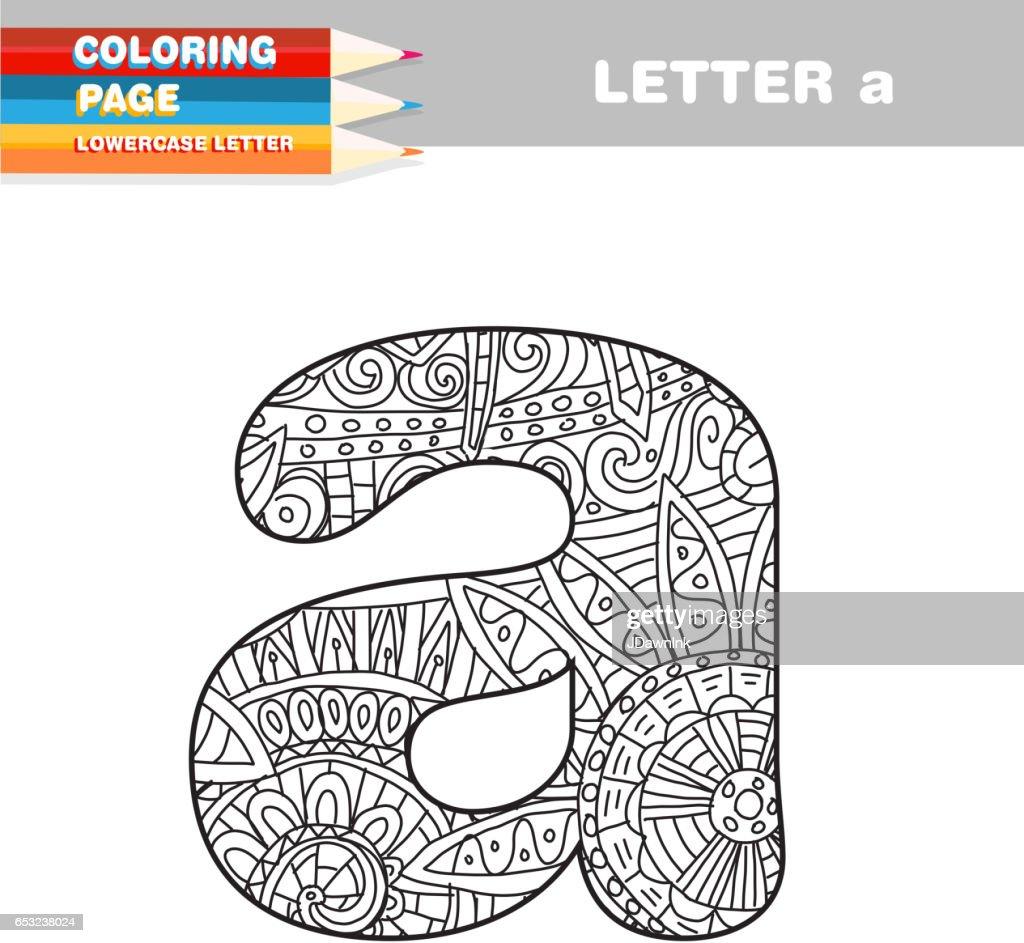 Volwassen Coloring boek kleine letters hand getekende sjabloon : Vectorkunst