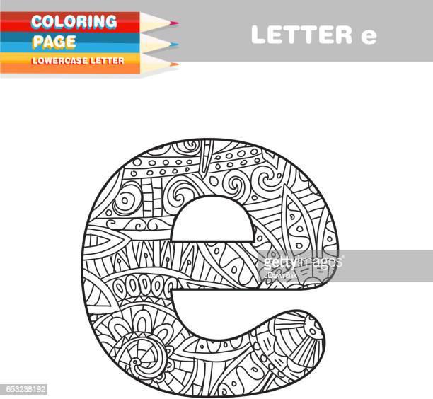 ilustraciones, imágenes clip art, dibujos animados e iconos de stock de adultos para colorear libro minúsculas plantilla dibujada a mano - letrae