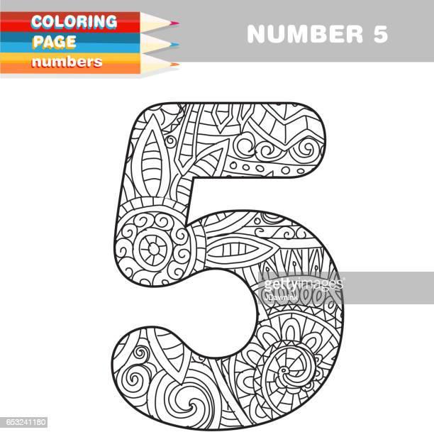 Volwassen Coloring boek getallen hand getekende sjabloon