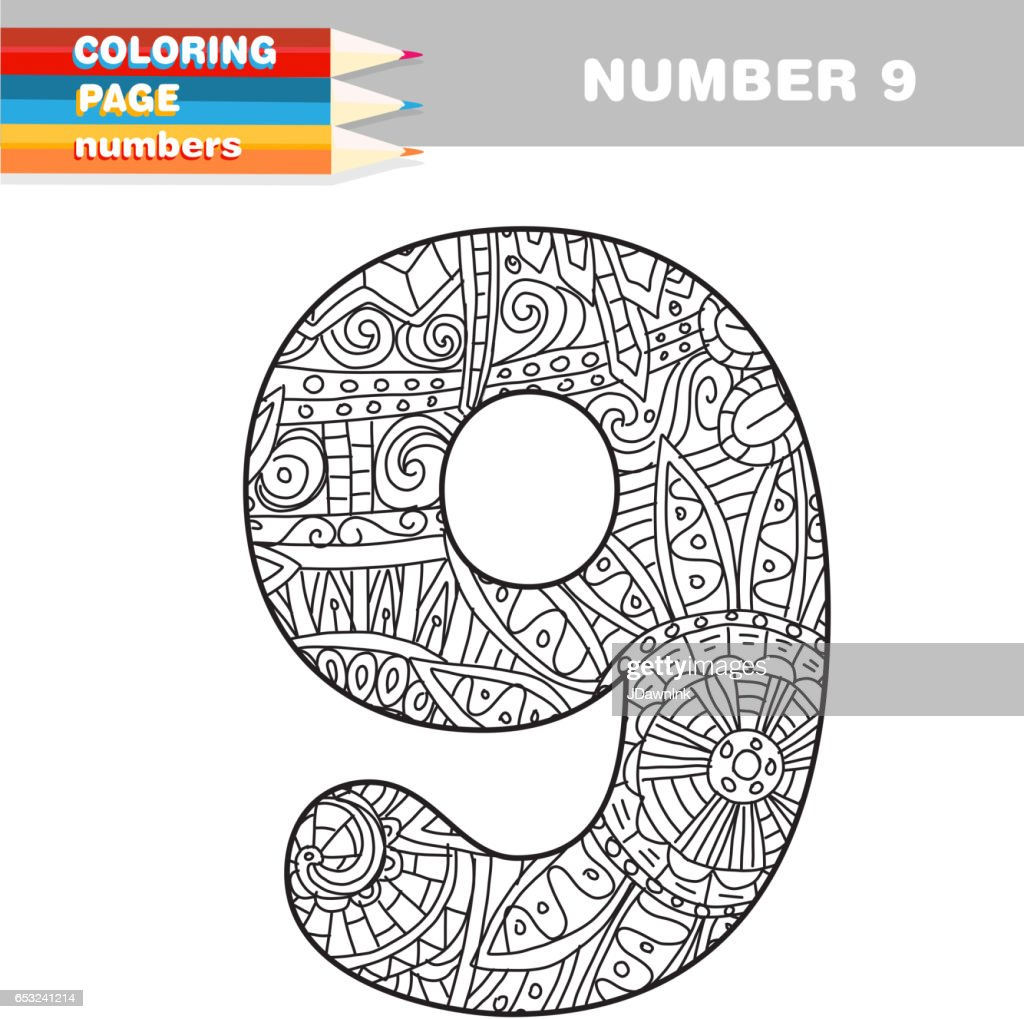 Adult Coloring book numbers hand drawn template : Arte vettoriale
