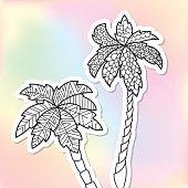 Adult coloring doodle palm trees sticker on colorful background