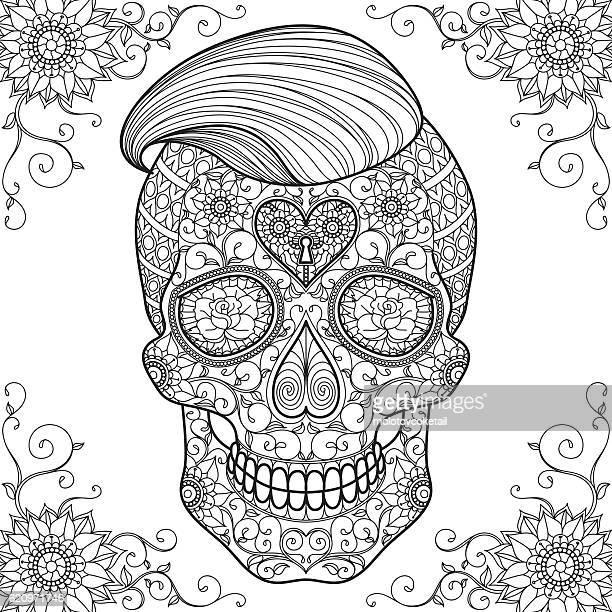 adult coloring sugar skull 2