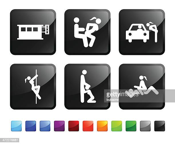 adult entertainment and prostitution royalty free vector icon set stickers - sex and reproduction stock illustrations, clip art, cartoons, & icons