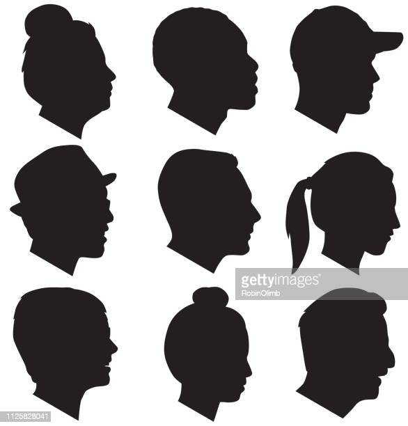 adult head silhouettes - side view stock illustrations
