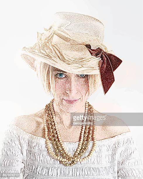 Adult hipster Woman wearing a boho flower hat