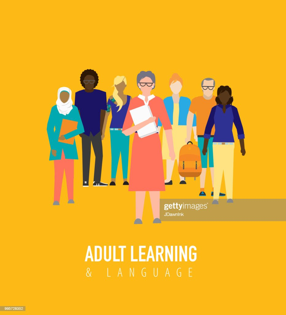 Adult Learning Education concept : stock illustration
