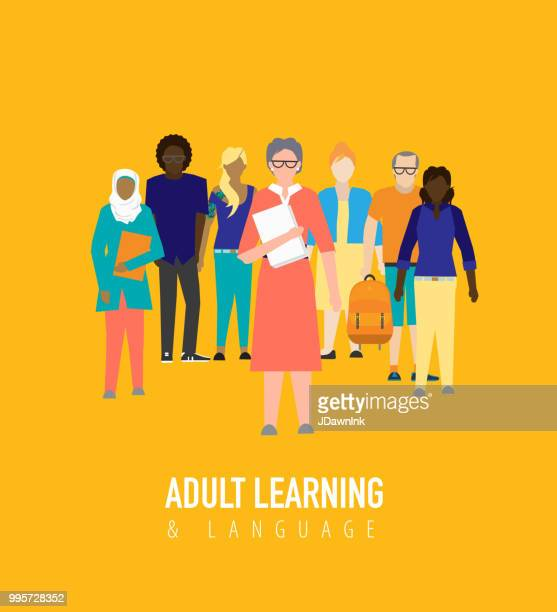 adult learning education concept - mature adult stock illustrations