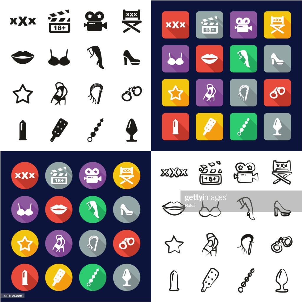 Adult Movie All in One Icons Black & White Color Flat Design Freehand Set