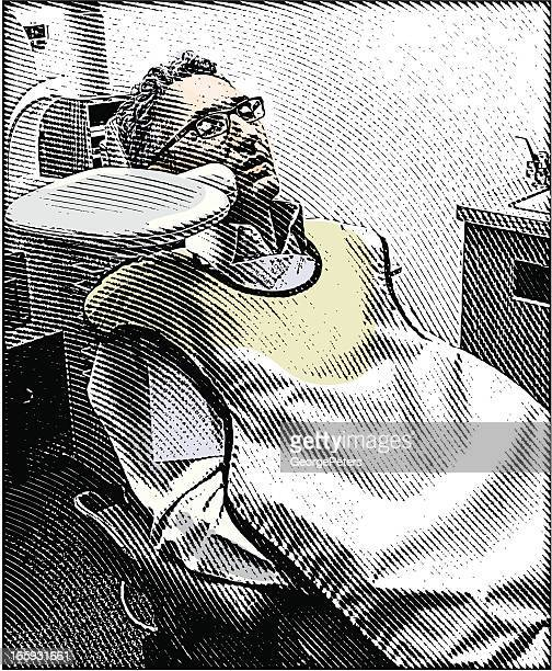 adult patient and dental care - x ray equipment stock illustrations, clip art, cartoons, & icons