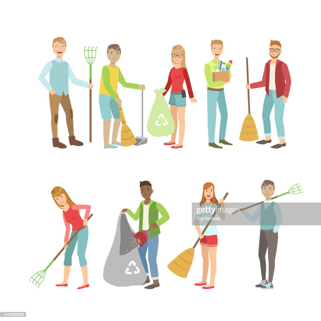 Adult People Cleaning Up Outdoors