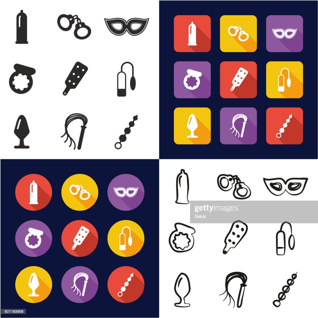 Adult Sex Toys All in One Icons Black & White Color Flat Design Freehand Set