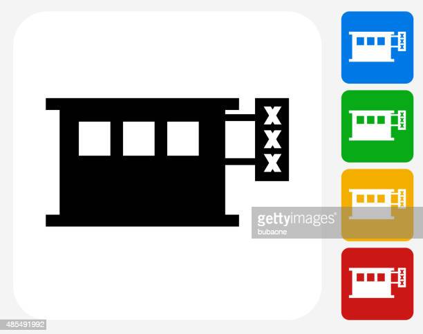 Adult Store Icon Flat Graphic Design