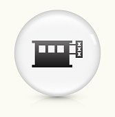 Adult Store icon on white round vector button