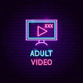 Adult Video Neon Label