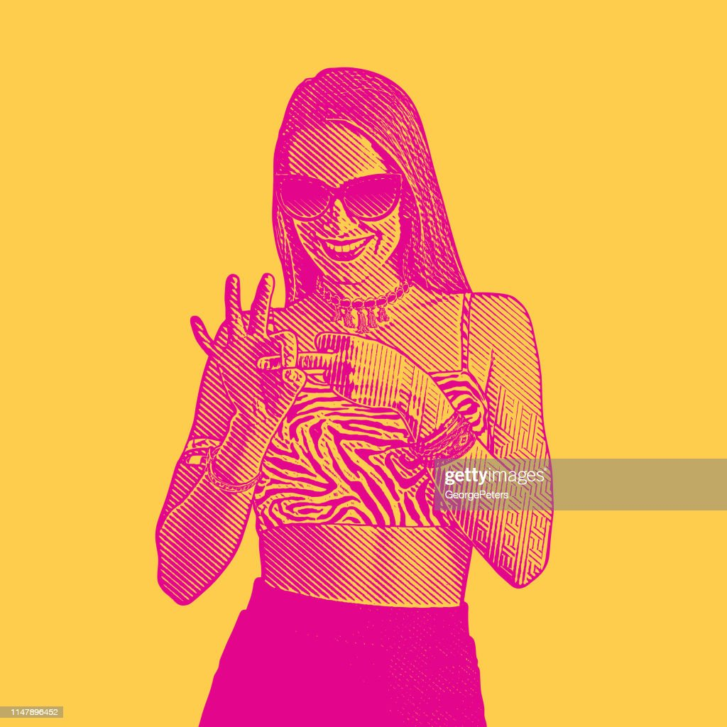 Adult woman flirting and making hand gesture with fingers : stock illustration