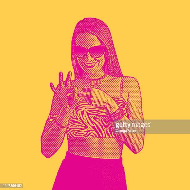 Adult woman flirting and making hand gesture with fingers