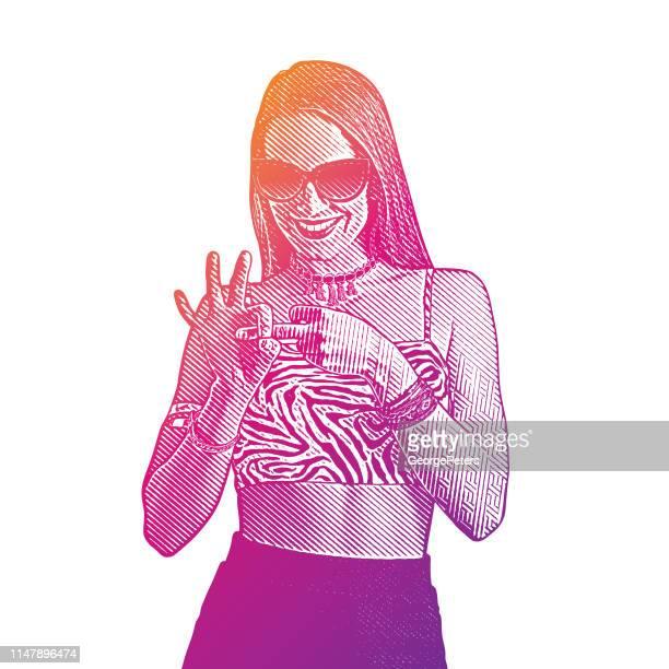 erwachsene frau flirtet und macht handgestalt mit den fingern - work romance stock-grafiken, -clipart, -cartoons und -symbole