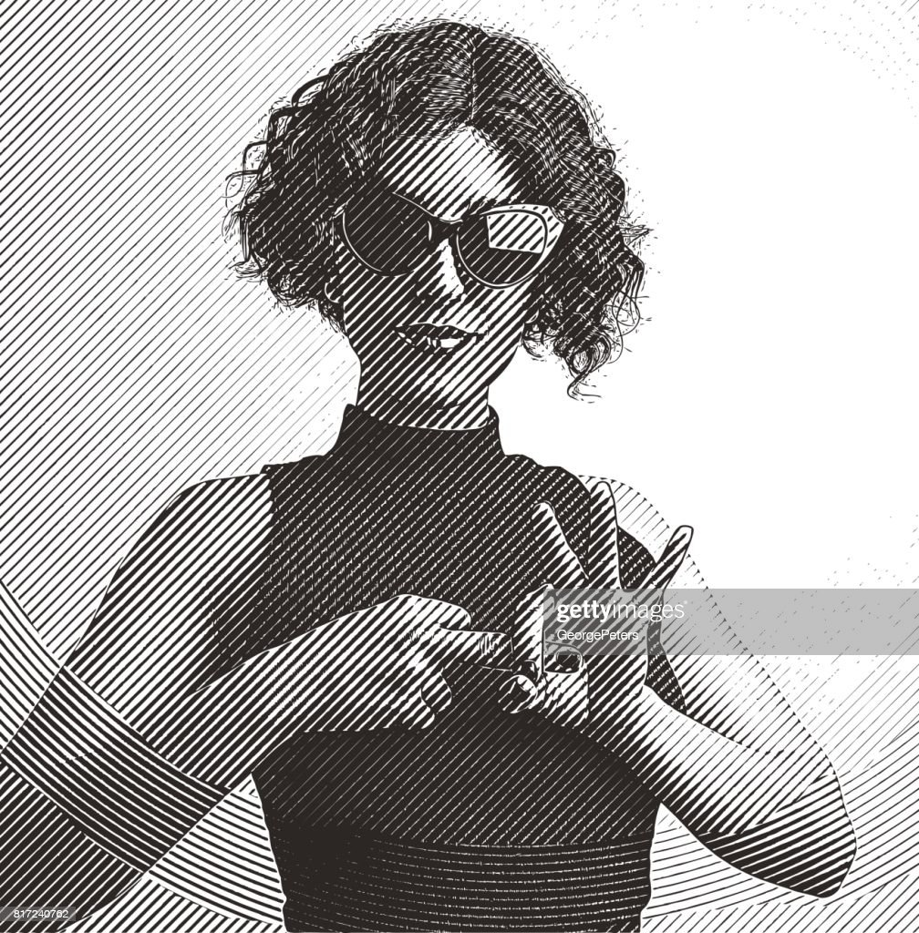 Adult woman making flirting hand gesture with fingers : stock illustration
