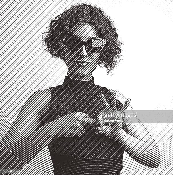 Adult woman making flirting hand gesture with fingers