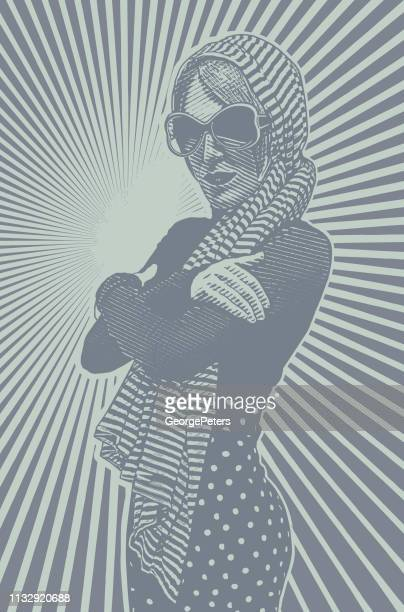 Adult woman wearing vintage 1970's fashion