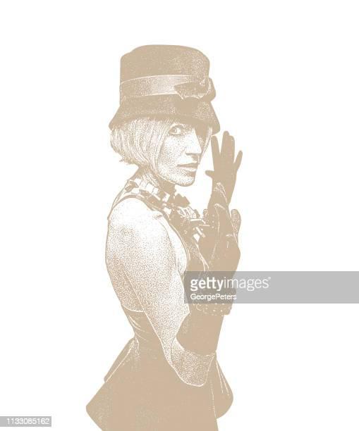 Adult woman wearing vintage fashion