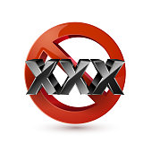 XXX adults only content sign. Age limit icon.