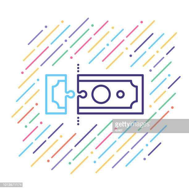 advance payment line icon - retail employee stock illustrations