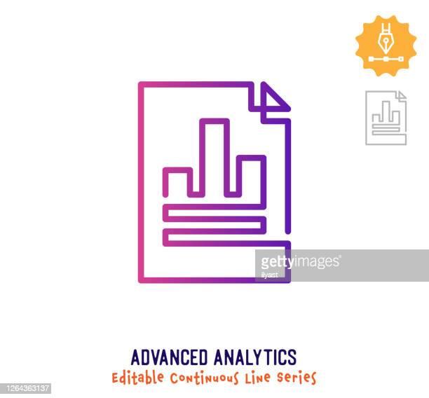 advanced analytics continuous line editable stroke icon - marktforschung stock-grafiken, -clipart, -cartoons und -symbole