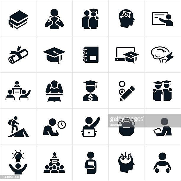 advanced education icons - showing stock illustrations
