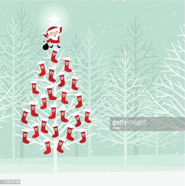 illustrations, cliparts, dessins animés et icônes de calendrier de l'avent sur un arbre de noël - avent
