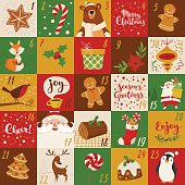 Advent Christmas vector calendar holiday characters and handwritten text.