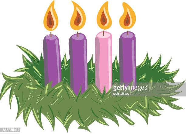 Advent Wreath with Candles Lit