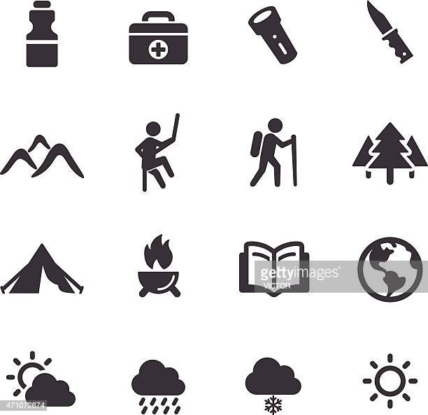 adventure and camping icons - acme series - guide stock illustrations