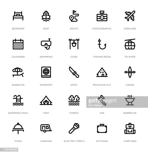 冒険と旅行行アイコン セット - ガス燈点のイラスト素材/クリップアート素材/マンガ素材/アイコン素材
